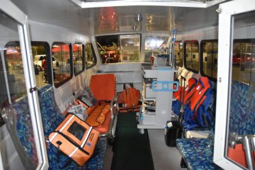 Inside the river ambulance which is going to Moruca