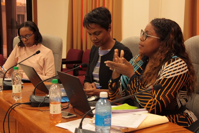 Programme Officer, Marsha Drakes (right) discusses capacity building during the opening of the session.