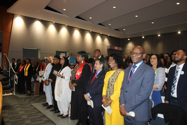 A section of the audience, including (front row right-left) Hon. Oral Holder; Hon. Barbara Atherly; H.E. Riyad Insanally, C.C.H.; Bishop-Elect Dr. Cheryl Ault-Barker; Pandita Devi Lakhnauth; Arsalan Mohamed and Ras Zebulun.