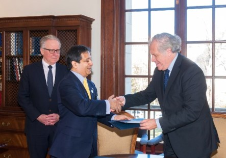 Ambassador Insanally and OAS Secretary General Luis Almagro celebrate after the donation of two pieces of artwork to the OAS's Art Museum of the Americas (AMA).
