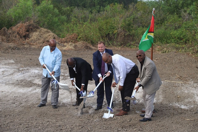 (from left) Minister of Finance Winston Jordan, Head of NICIL Colvin Heath-London, CEO of ERES Mike Elliot, CEO of CMEI Edmon Braithwaite and Director General for the Department of Tourism Donald Sinclair at the sod-turning ceremony for the proposed Hilton Hotel at Ogle.