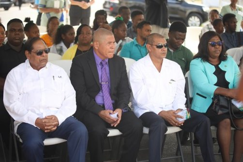 Prime Minister, Hon. Moses Nagamootoo, Minister of Social Cohesion, Hon. Dr. George Norton, Minister of Foreign Affairs Hon. Dr. Karen Cummings, Minister of Business, Hon. Haimraj at the recommissioning of the arch.