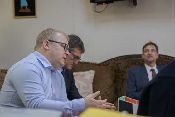 Chief Observer, Urmas Paet along with his colleagues from the Elections observers' mission to Guyana engaged in a discussion with Minister Lawrence.