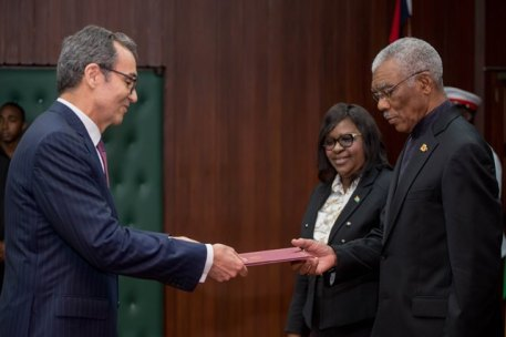 His Excellency Carlos Amaro, Ambassador-designate of the Portuguese Republic presents his letter of credence to His Excellency David Granger.