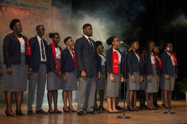 Teachers from the Cyril Potter College of Education (CPCE) Choir perform at the opening ceremony.