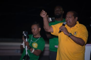 Hon. Moses Nagamootoo, Prime Minister of the Cooperative Republic of Guyana, speaking at a political meeting in Region Five