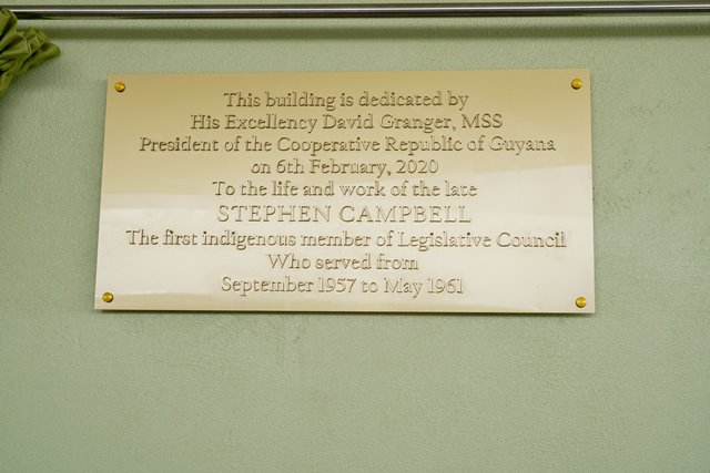 The commemorative plaque in honour of the life and work of the late Stephen Campbell, Guyana's first indigenous member of the Legislative Council (September 1957 to May 1961).