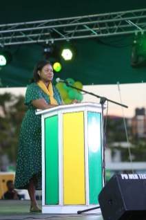 Legal Advisor in the Office of the Prime Minister, Tamara Khan, addressing the mammoth women's rally at Parade Ground, Georgetown.