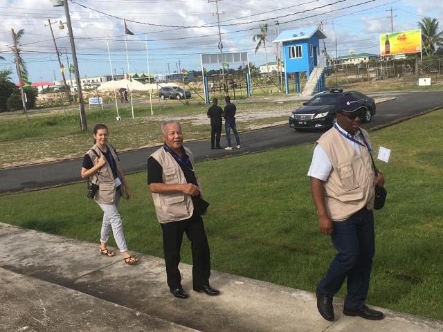 Chairman of the Commonwealth Observer Group, Owen Arthur and members of the OAS Observer Mission arrive at the National Aquatica Centre to observe the voting process on march 2.