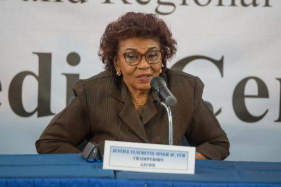 GECOM Chairman, (ret'd) Justice Claudette Singh