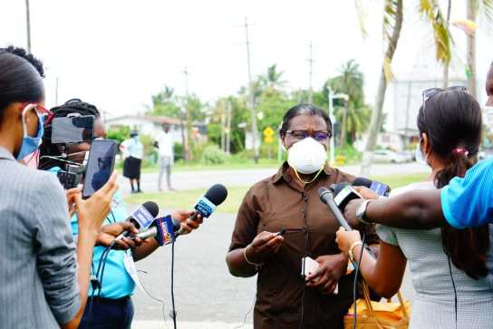 Ministerwithin the Ministry of the Presidency with responsibility for Youth Affairs,Simona Broomes speaking with the media (source: Guyana Chronicle)