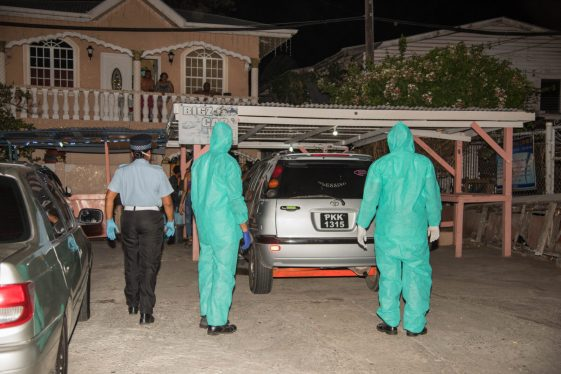 Guyana Police Force night patrol enforcing the 6pm to 6am curfew
