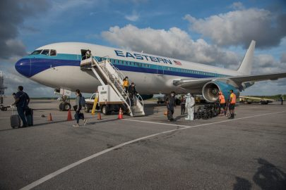 Eastern Airlines at CJIA with Guyanese that were stranded in Miami
