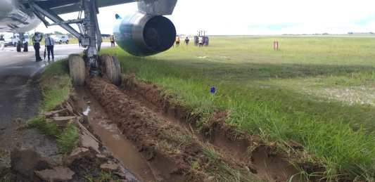 The Eastern Airlines plane after it skidded off the taxiway at the CJIA