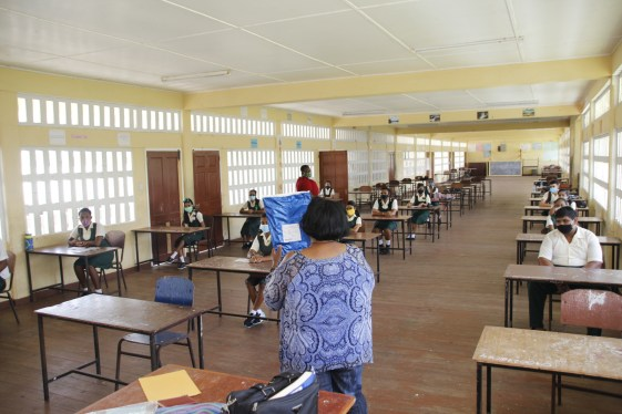 Leonora Secondary schools student listening to instructions from the invigilator.