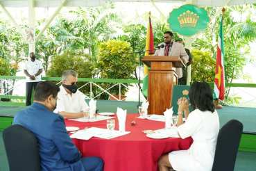 President of the Cooperative Republic of Guyana, His Excellency, Mohamed Irfaan Ali, during his address.