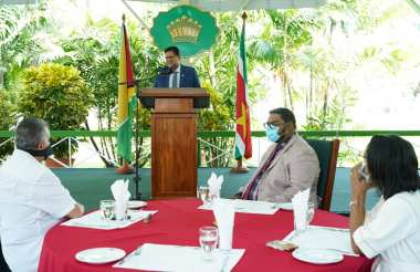 President of the Republic of Suriname, His Excellency, Chandrikapersad Santokhi, during his address,