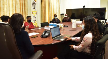 Minister of Amerindian Affairs, Hon. Pauline Sukhai, engaging the staff of her Ministry.