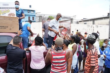 Hampers being distributed to residents of Tiger Bay.