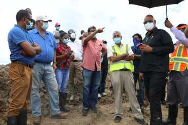 Minister of Public Works, Hon. Bishop Juan Edghill, at the sea defence breach at Dantzig, Mahaicony, Berbice.