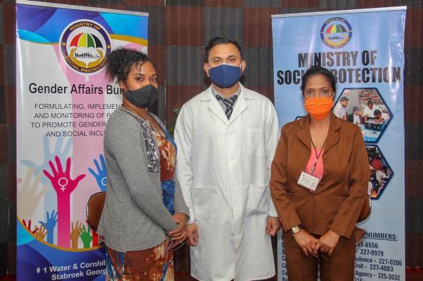 (From left) Shemika Henry (recipient), Dr. Sugrim representative of Humanitarian Mission Guyana Incorporated and Senior Affairs Officer, Gender Affairs Bureau, Hemwattie Lagan, MOSP
