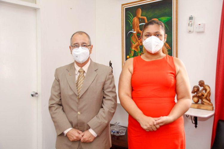 Honourable Minister of Education, Priya Manickchand and Cuba's Ambassador to Guyana Narciso Socorro following their meeting