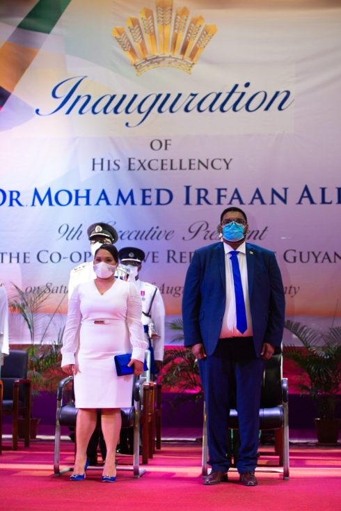 The 9th Executive President of the Cooperative Republic of Guyana, His Excellency, Mohamed Irfaan Ali and First Lady, Her Excellency, Arya Ali at the inauguration ceremony at the National Cultural Centre (NCC).