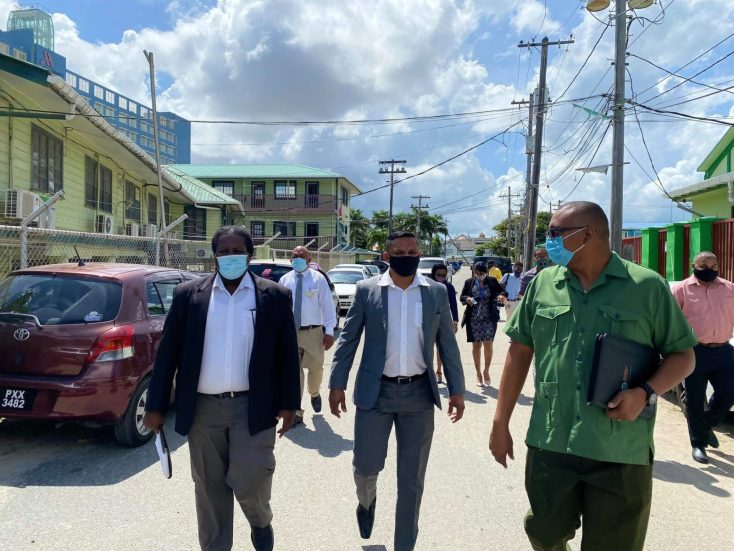 [In the photo, at left] Permanent Secretary of the Ministry of Natural Resources, Mr. Joslyn McKenzie, along with Commissioner (ag) of the Guyana Forestry Commission (GFC), Mr. Gavin Agard, and [centre] Minister of Natural Resources, Hon. Vickram Bharrat, during a tour of the GFC