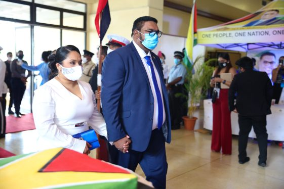 Guyana's 9th Executive President His Excellency, Dr. Mohamed Irfaan Ali and his wife, First Lady, Her Excellency, Arya Ali make their way into the National Cultural Center (NCC).