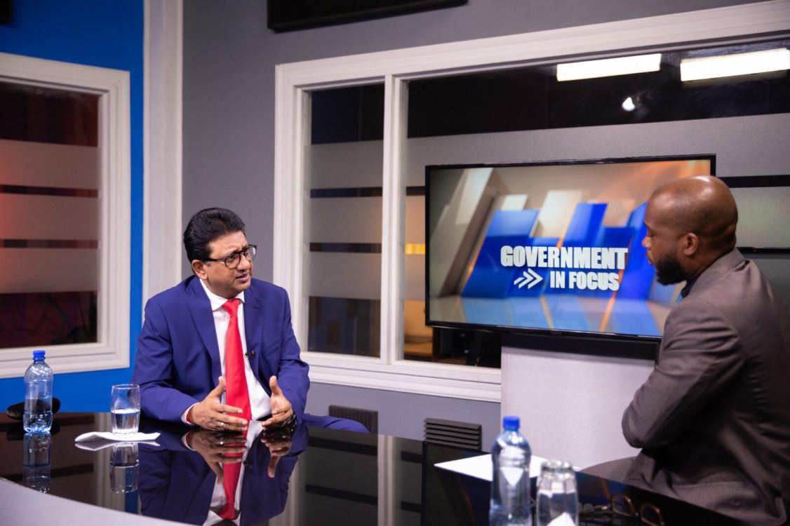 Attorney General and Minister of Legal Affairs, Hon. Anil Nandlall, speaking with Host, Leeron Brummel, the host of the NCN programme 'Government in Focus'