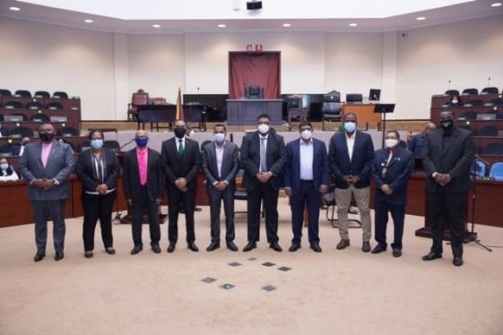 [L-R] Chairman of Region One, Mr. Brentnol Ashley; Chairperson of Region Two, Mrs. Vilma Da Silva; Chairman of Region Three, Mr. Mohamed Ishan Ayube; Chairman of Region Four, Mr. Daniel Seeram; Chairman of Region Five, Mr. Vickchand Ramphal; President Dr. Mohamed Irfaan Ali; Chairman of Region Six, Mr. Permaul Armogan; Chairman of Region Seven, Mr. Kenneth Williams; Chairman of Region Nine, Mr. Brian Allicock; and Chairman of Region 10, Mr. Deron Adams.