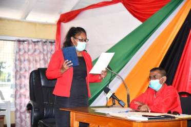 Vice-Chairman, Ms. Annansha Peters takes the Oath of Office