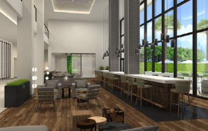 The proposed layout of a Bar Lounge at the hotel