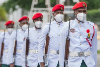 Members of the Guyana Defence Force in the ceremonial march-past this morning.