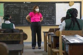 Minister of Education, Hon. Priya Manickchand engaging students at West Demerara Secondary School