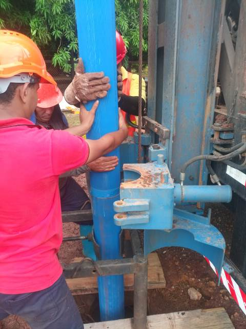 The installation of the well casing