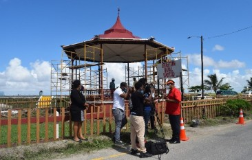 Minister of Public Works, Hon. Bishop Juan Edghill at the Sea Wall Band Stand area in Kingston where the beautification project is ongoing.