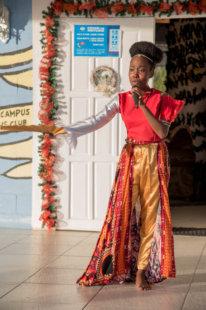Ms. Adiel Heywood, member of the Youth in Natural Resources Group performing a dramatic piece