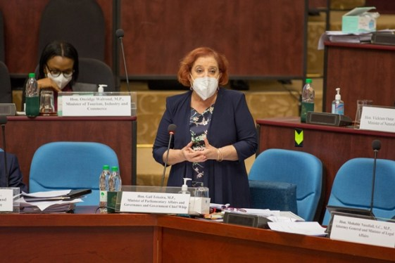Minister of Parliamentary Affairs and Governance, Hon. Gail Teixeira contributing to the motion, 'Global Pandemic of COVID-19' in the National Assembly on Wednesday.