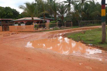 An internal road in Kwakwani
