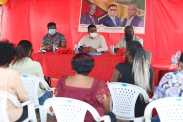 Minister within the Office of the Prime Minister, Hon. Kwame McCoy and Minister of Local Government and Regional Development, Hon. Nigel Dharamlall meeting representatives of the Timehri North Community Development Council (CDC)