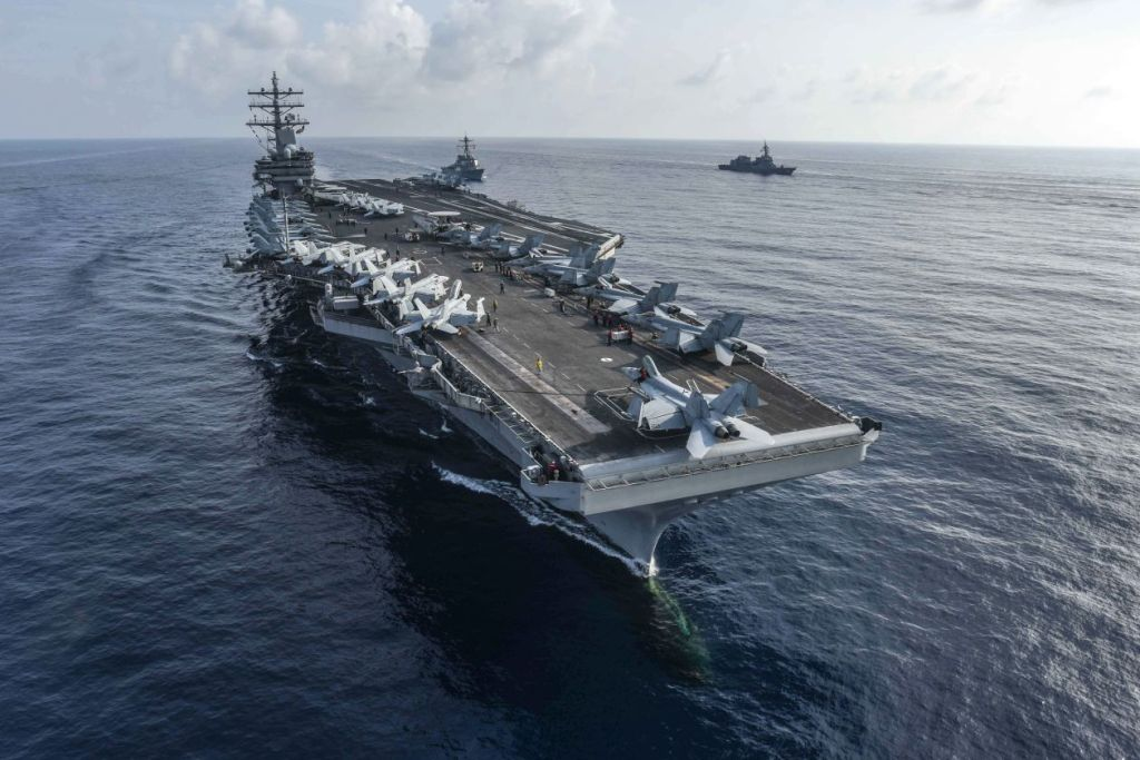 Navy aircraft carrier USS Ronald Reagan conducting an exercise in the South China Sea in August