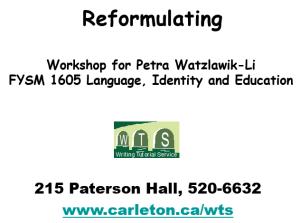Leibovitz (2005) Reformulating