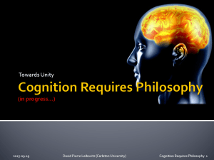 Leibovitz (2009) Cognition Requires Philosophy