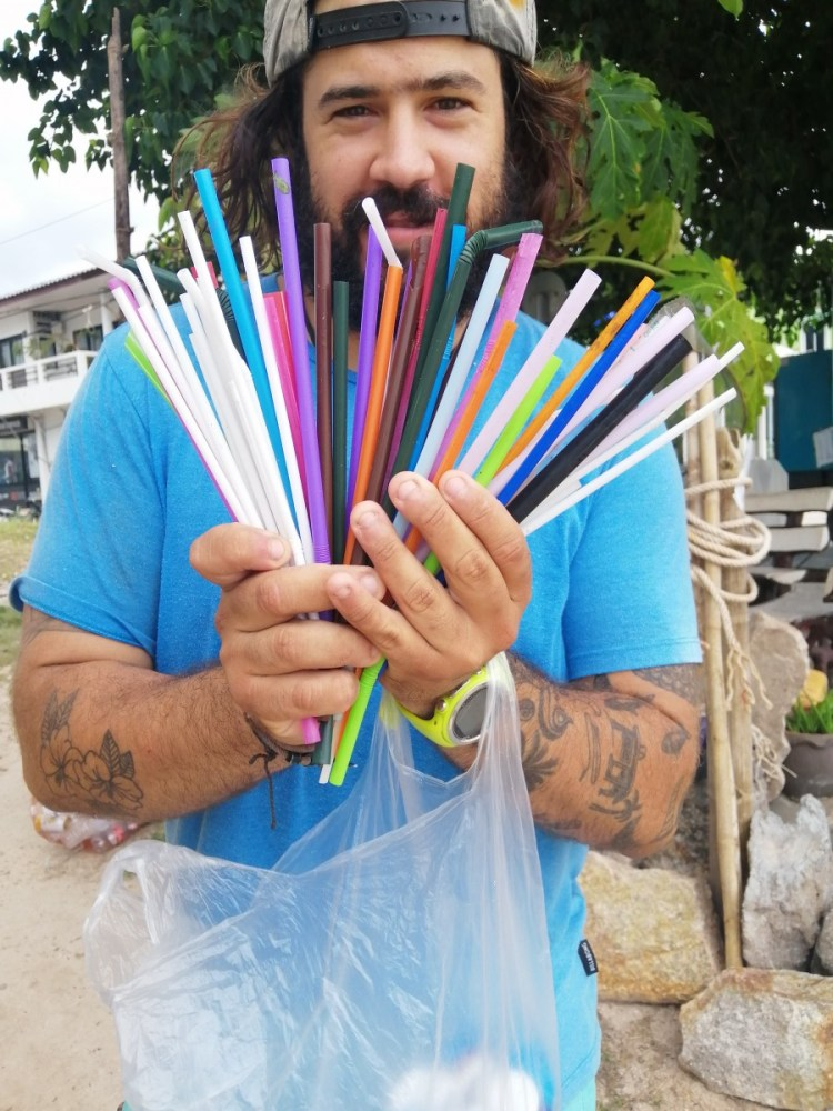 plastic straws collected in beach cleanup