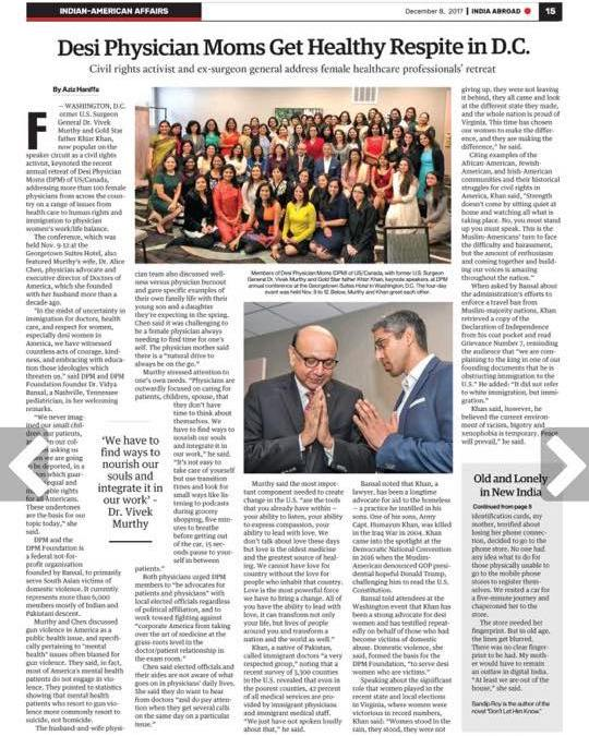 [Media Coverage] Read the Article India Abroad Wrote About Our Retreat