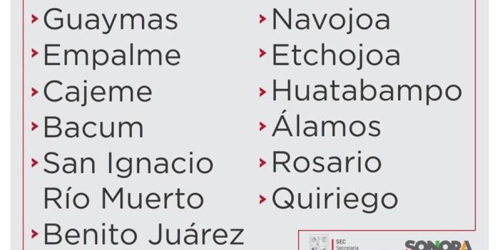 Suspenden clases en 12 municipios de Sonora