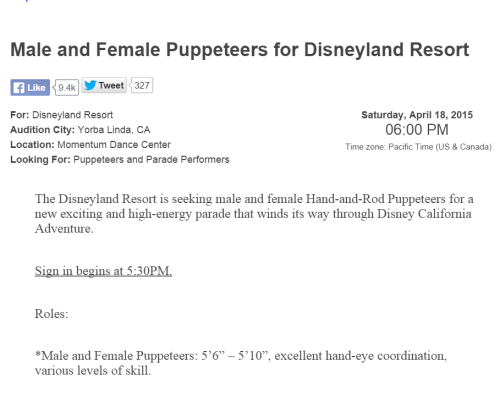 Male and Female Puppeteers for Disneyland Resort