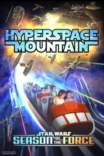 HYPERSPACE MOUNTAIN – Guests will join a thrilling X-wing Starfighter battle aboard Hyperspace Mountain, a reimagining of the classic Space Mountain attraction, as part of Season of the Force, beginning Nov. 16, 2015, at Disneyland park. A new themed experience coming to Tomorrowland, Season of the Force celebrates iconic characters and moments from the Star Wars saga with special entertainment, themed food offerings and more. (Disney Parks)  (c)Disney