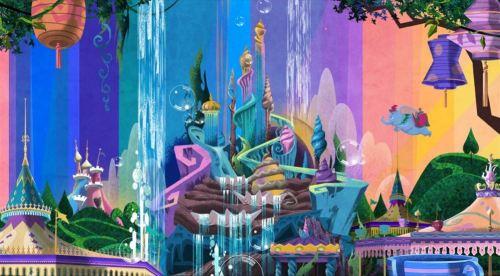 「東京ディズニーセレブレーションホテル:ウィッシュ」フロントカウンター裏のアート (c)Disney